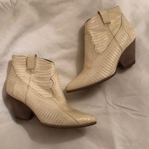 FRYE White Leather Booties Sz 9
